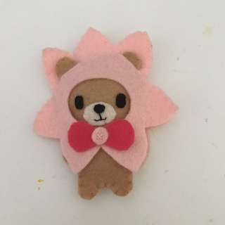 Hand made bear dressed as a flower plushie