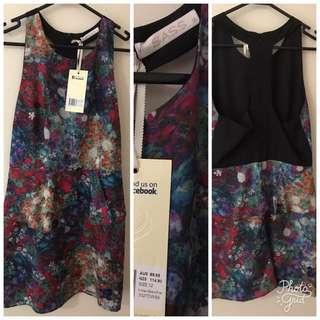 Sass floral dress with peplum size 12 BNWT