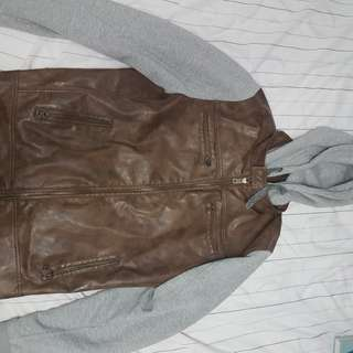 Guess Faux Leather Sweater Jacket