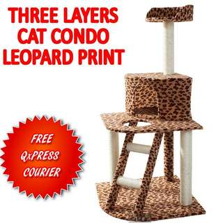 TPE041 Three Layer Condo Cat Jumping Toy with Ladder Scratching Wood Climbing Tree Postage: Qxpress $7