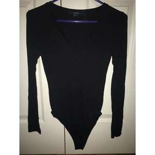 Black v-neck body suit