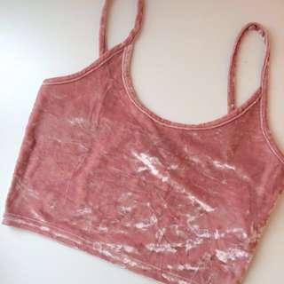 Pink Crushed Velvet Crop Top