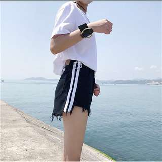 High Waisted Shorts with Side Stripes