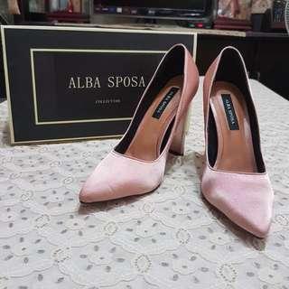 ALBA SPOSA/手工訂製鞋/婚鞋/粗跟鞋/緞面/高跟鞋/粉紅色/尖頭鞋