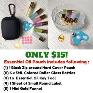 Roller Bottle Bundle | Essential Oil Bottle | 5ml Roller Bottle | Colored Roller Bottle| Essential Oil Holder | Essential oil Pouch | Colored Glass Bottle