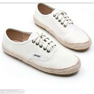 草編帆布鞋 百搭小白鞋