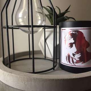 PInk foil TUPAC candle