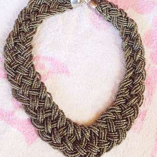 Gun metal beaded bib necklace