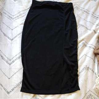 Black Slinky Split Midi Skirt