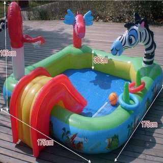 Kid's Inflatable Pool Animals Design with Slide and Basketball Toy