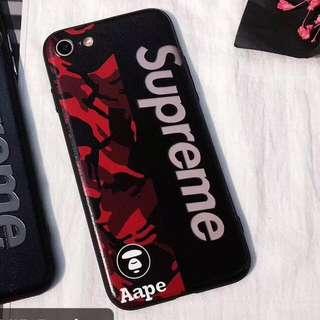 現貨 superme & Aape紅色迷彩拼接全包 iPhone8/7手機殼