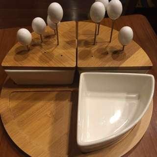 特賣120 Hola home 竹質陶瓷點心托盤組/盤子