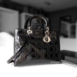 Authentic Christian Dior Black Patent Leather Lady Dior