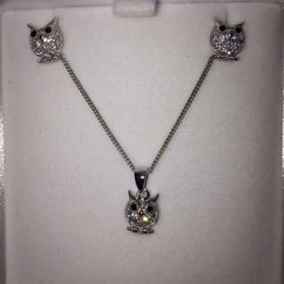 Prouds Owl Pendant And Stud Earrings