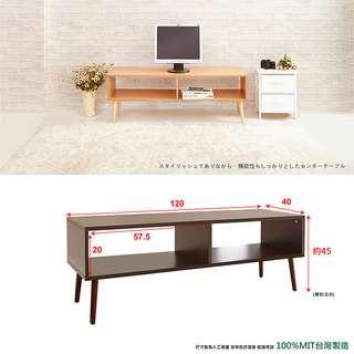 鄉村風寬桌面雙格電視櫃/工作桌/壁桌-實木腳