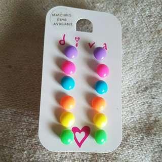 Colorful earrings 6pairs