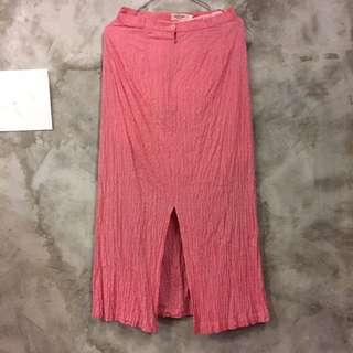 BETTY's 特殊皺褶布料長裙 直筒裙 正面開衩 深粉紅 專櫃正品 二手便宜賣