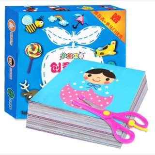 Children's activity kit - FREE kids safety scissors - 100 sheets paper cutting fun!