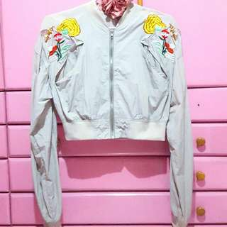 [REPRICED] Gray Floral Embroidered Bomber Jacket