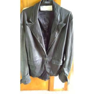 SIZE 14 - TRELISE COOPER FADED LEATHER JACKET WELL WORN