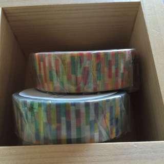 Mt紙膠帶全新卷-馬賽克藍紅 兩卷合售