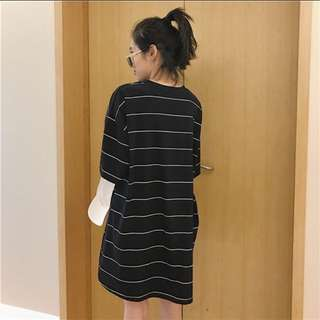 個性條紋黑色連身短袖洋裝