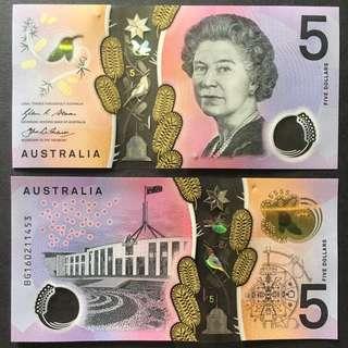 2016 AUSTRALIA 5 DOLLARS POLYMER P-62 UNC
