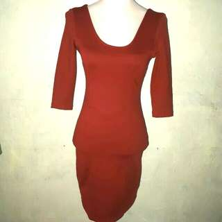 Rust bodycon dress