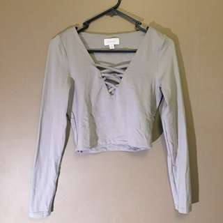 Kookai Crop Top - Grey Poly Size 1