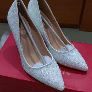 Wedding White Glitter Pumps Heels