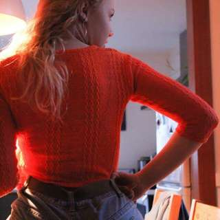 Deep orange long sleeved mesh crop top