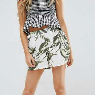 ASOS Culotte Shorts In Palm Print
