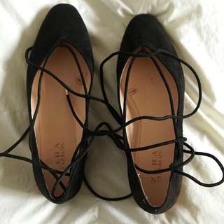 Laced Up Suede Ballet Flats From Zara