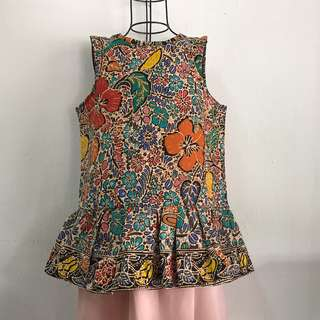 Batik Sleeveless Peplum Top
