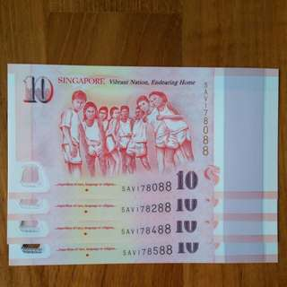 "SG50 Commemorative $10 Note Ending ""88"" *** REGARDLESS OF RACE ***"