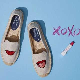 🇺🇸soludos草編鞋 紅唇嘴巴款💋👄