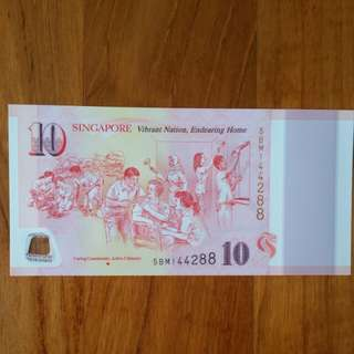"SG50 Commemorative $10 Note Ending ""88"" *** CARING COMMUNITY   ***"