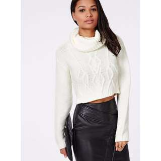 sz 6 MISSGUIDED White Turtleneck Crop