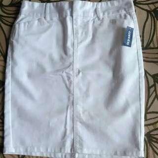 Old Navy white denim midi pencil skirt