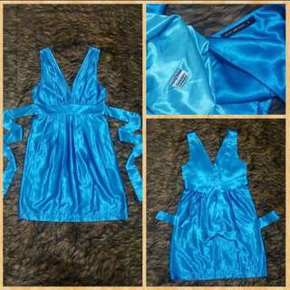 Body And Soul Blue Satin Dress