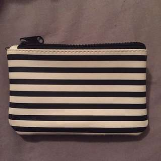 Small black and white pouch