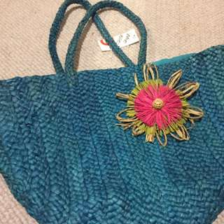Brand new teal straw beach bag