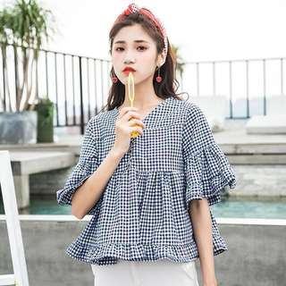 [BN] Korean V-neck Plaid Doll Blouse