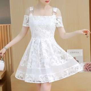 Lace Off-shoulder White Dress