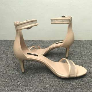 Low-Heeled Nude Strap Heels