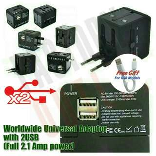 Worldwide International Traveller Adapter with Double USB ports 2100mAh. 10W Power
