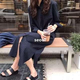 正韓簡約藍色直條紋襯衫開衩連身裙