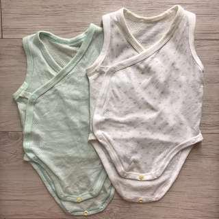 兩件裝Uniqlo新生兒網眼透氣無袖包屁衣