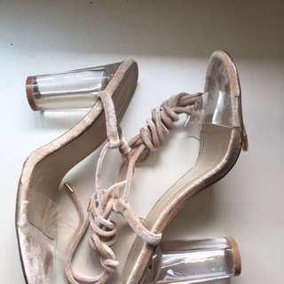 Urban Outfitters Clear Velvet Heels Size 9