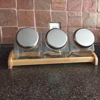 Glass/Stainless Steel Cookie Jar Set